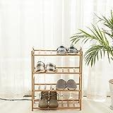 HanKey 100% Natural Bamboo Strip 3/4/5Tier Shoe Rack ZT04-1 (4-Tier, ...